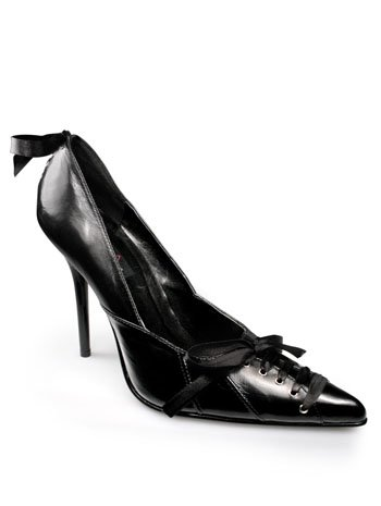 Pleaser Black Leather Pump With Corset Lace Detail - 9