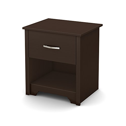 South Shore Fusion Nightstand, Chocolate with Grooved Metal Handles