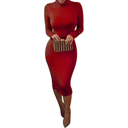 laiyuan Women Turtleneck Long Sleeve Slim Bodycon Wrap Tunic Pencil Midi Dress S ()