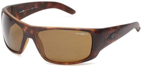 Arnette Men's AN4179 La Pistola Rectangular Wrap Sunglasses, Tortoise /Polarized Brown , 66 mm