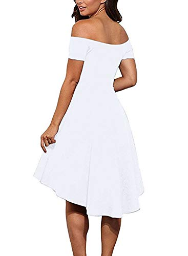 f6820d69d49 Sarin Mathews Womens Off The Shoulder Short Sleeve High Low Cocktail Skater  Dress