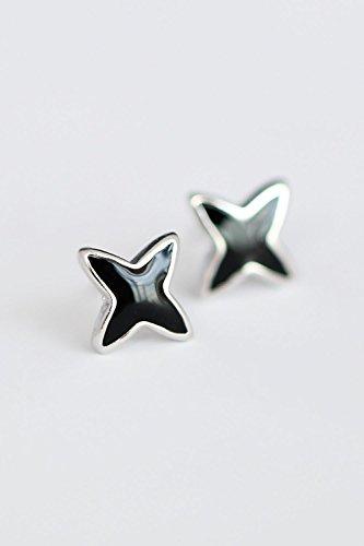 Black Enamel Drop (Generic 925 sterling silver cross-shaped black enamel drop earrings)