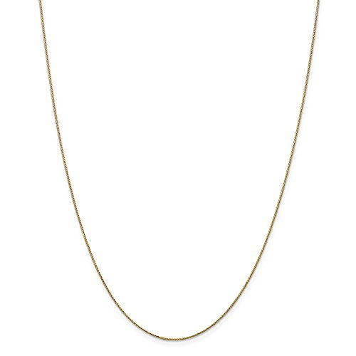 14k Gold Diamond-Cut Wheat Chain Necklace with Spring Ring (0.5mm) - Yellow-Gold, 24 in
