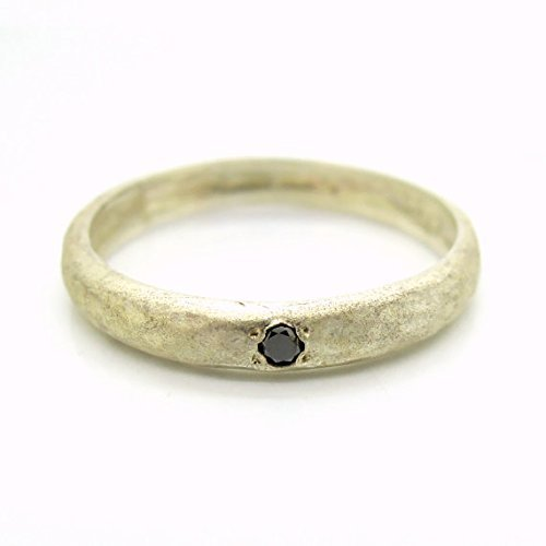 Black-diamond-engagement-ring-set-in-a-hammered-sterling-silver-band