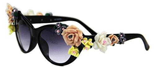 Lunettes Flower Charmming Black JYR Shades Women Beach de soleil de Lady décoration Fashion Lunettes soleil R0x0FWnI6