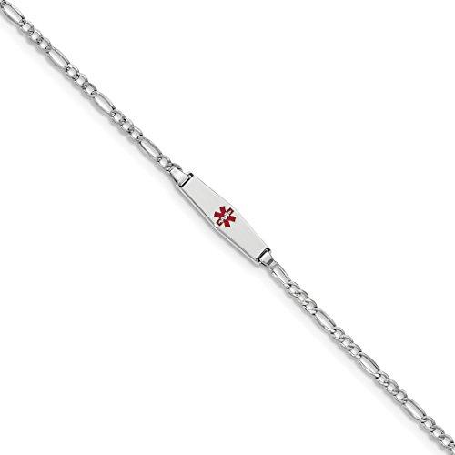 14k Sister Charm (ICE CARATS 14k White Gold Medical Soft Red Enamel Id W Figaro Bracel Bracelet Fine Jewelry Gift Set For Women Heart)