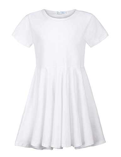 Arshiner Little Girls Short Sleeve A Line Skater Pleated Swing Asymmetrical High Low Hem Casual Dress 2-15Years