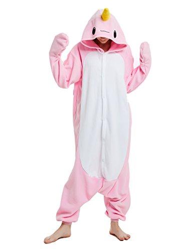 Animal Cosplay Costume Narwhal Unisex Adult Pajamas Pink]()