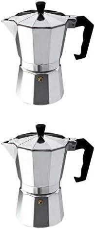 Fenteer 2 Piezas Cafetera Italiana,Cafetera Espressos de Acero Inoxidable de Multifuncional para Calentar para Estufa de Gas, Lámpara de Queroseno: Amazon.es: Hogar