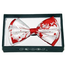 Fashion Tuxedo Dress Bowtie Adjustable Elastic Strap - White w/ Blood Splatter Design