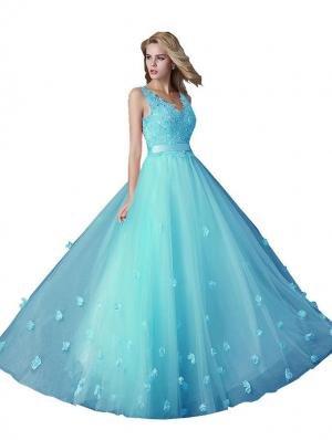 Beauty-Emily A-ligne Sans manche Double V-col Fleurs Cordon de serrage Robe Longue Soire Bleu Clair