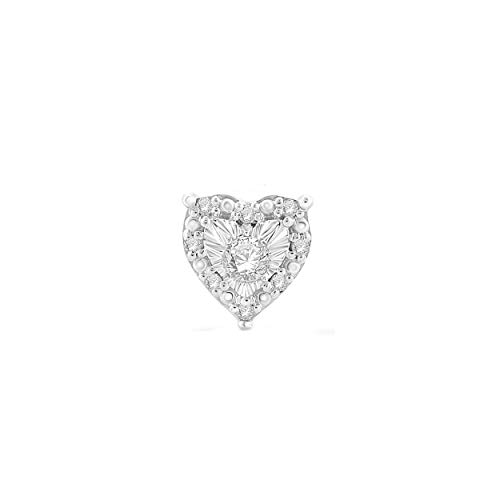 Sterling Silver Best Selling Halo Diamond Earrings 1/4ctw Pair or 1/8ctw Single Princess or Round (1/8ctw Single White Heart)