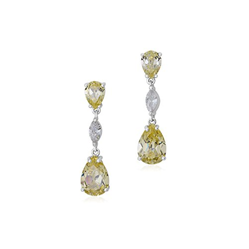 MASSETE Sterling Silver 925 Simulated Diamond Yellow Pale Double Pear Dangle Post Earrings