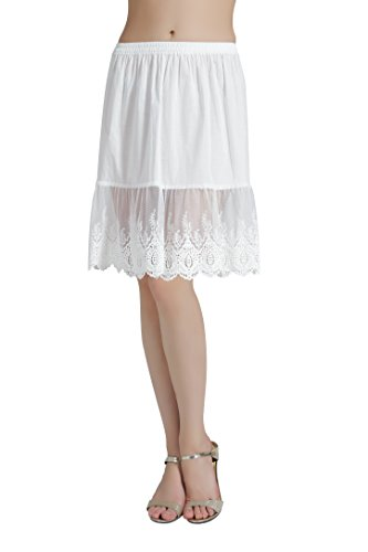 (BEAUTELICATE Skirt Extender Half Slip with Lace Trim 100% Cotton Vintage Underskirt Ivory 22