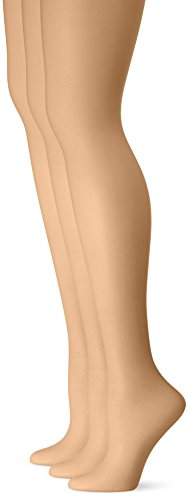 L'eggs Women's Silken 3 Pack Control Top Sheer Toe Panty Hose, Sun Beige, B ()