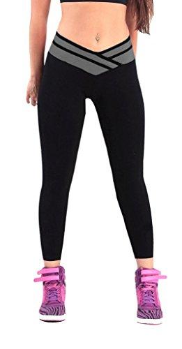 Sportwear leggings damen lange Schwarz/Grau sporthosen Frauen Running Pants,S