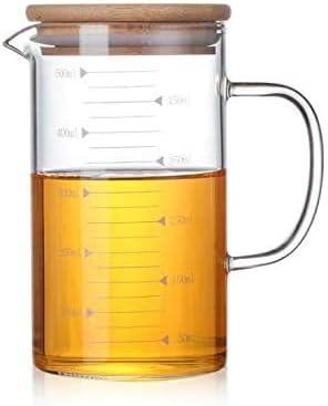 Vaso dosificador, 500 ml, vaso medidor de cristal resistente al calor, taza líquida para microondas y vaso de medición para leche o café o jarra de agua caliente fría
