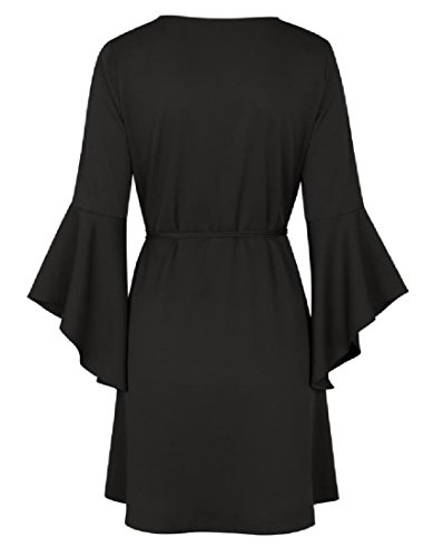 Neck A Womens Cross V Bell Dress Line Solid Comfy Belted Black Sleeve 1Y8Cq1wR