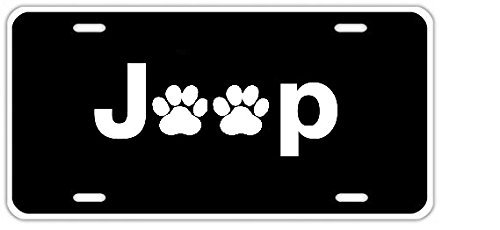 - License Plate Funny Cover with 4 Holes Jeep Paw Print Decorative Front Plate 6