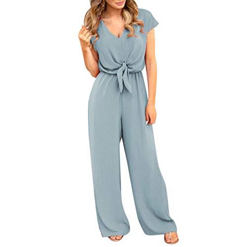 - UOFOCO V Neck Jumpsuit Women Summer Lace Up Short Sleeve Rompers Playsuit Blue