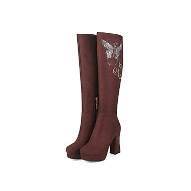 de mujer US9 5 punta Invierno talón comodidad de EU41 RTRY 5 brillante Cuero Fashion redonda de rodilla Glitter 10 Forro Nubuck Zapatos botas 8 altas Otoño botas pelusas botas CN42 UK7 Chunky RERqI4S0