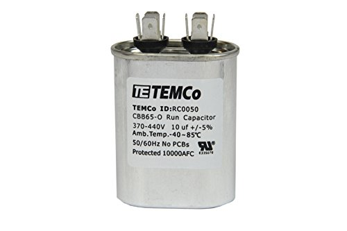 TEMCo 25 LOT Motor Run Capacitor RC0072-10 mfd uf 370/440 V VAC volt 10 uf Oval HVAC TEMCo AC Electric by Temco (Image #3)