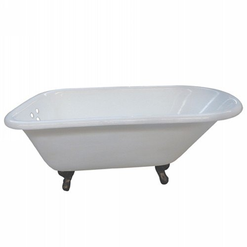 KINGSTON BRASS VCT3D603019NT5 60-Inch Cast Iron Roll Top Claw Foot Tub with 3-3/8-Inch Tub Wall Drillings and Oil Rubbed Bronze Feet, ()