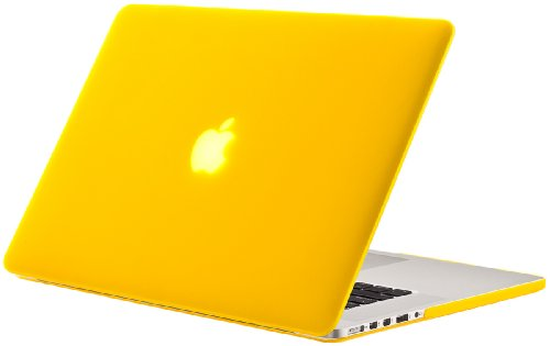 "Kuzy - Rubberized Hard Case for Older MacBook Pro 15.4"" with Retina Display A1398 15-Inch Plastic Shell Cover - YELLOW"