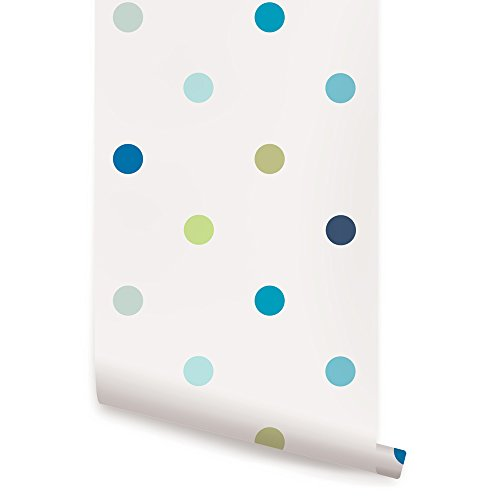 Repositionable Stick - Polka Dot Blue Peel & Stick Fabric Wallpaper Repositionable