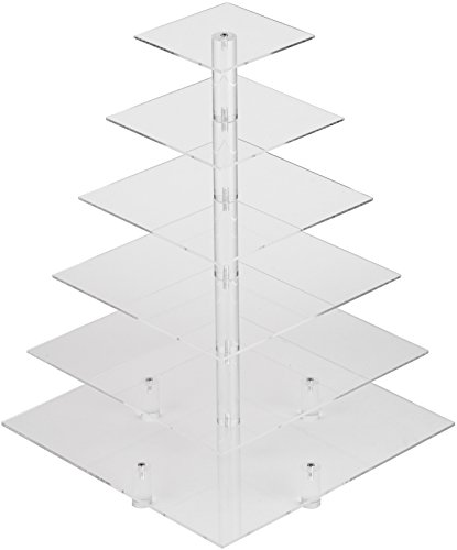 YestBuy 6 Tier Maypole Square Wedding Party Tree Tower Acrylic Cupcake Display Stand