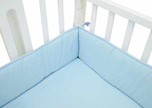TL Care Cotton Percale Portable Crib Bumper, Mini, Blue, for