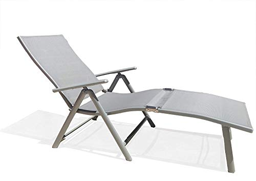(Kozyard Cozy Aluminum Beach Yard Pool Folding Reclining Adjustable Chaise Lounge Chair (Gray,1 Pack))