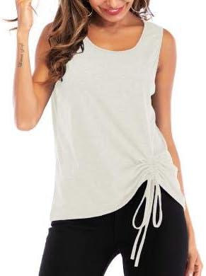MUCOO - Camiseta de Tirantes para Mujer, Informal, sin Mangas, Cuello Redondo, Holgada, para el Trabajo, Yoga, Deporte, Actividad, Gimnasio Blanco Blanco XXXL: Amazon.es: Ropa y accesorios