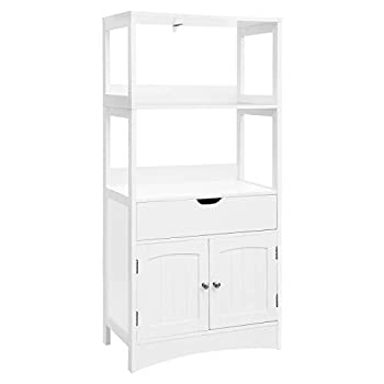 Image of VASAGLE Bathroom Storage Cabinet with Drawer, 2 Open Shelves and Door Cupboard, Large Floor Cabinet in The Entryway Kitchen, White UBBC64WT Home and Kitchen