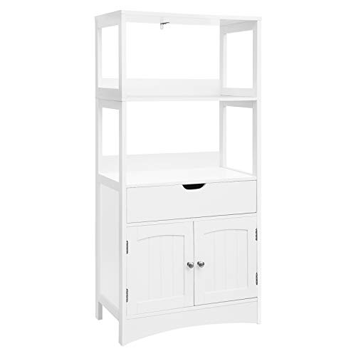 (VASAGLE Bathroom Storage Cabinet with Drawer, 2 Open Shelves and Door Cupboard, Large Floor Cabinet in The Entryway Kitchen, White UBBC64WT)
