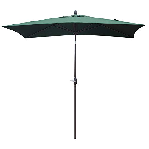 SORARA Patio Umbrella Rectangular Outdoor Market Table Umbrella with Push Button Tilt&Crank&Umbrella Cover, 6.5' x 10', Green