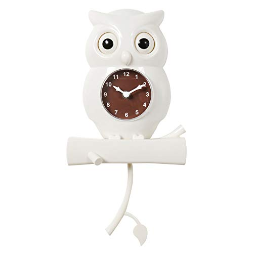 WHAT ON EARTH White Owl Pendulum Wall Clock - Bird with Moving Eyes Battery Powered - Owl Clock Shaped