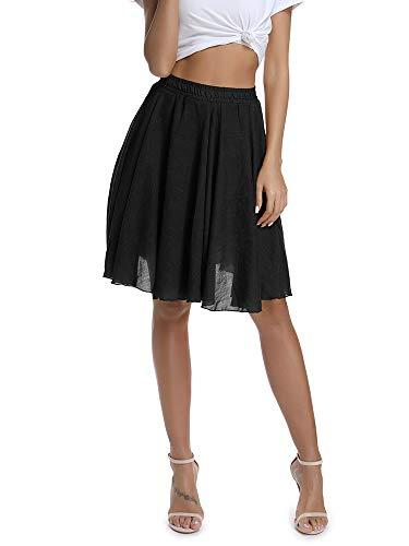 Women's Lightweight Flare Big Swing Boho Knee Length Skirt, Elastic Waist Flowing Beach Wear Black Tag 26 - US 0-2 ()