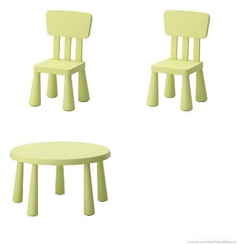 Mammut IKEA Conjunto Infantil de Mesa y 2 sillas, Color Verde: Amazon.es: Hogar