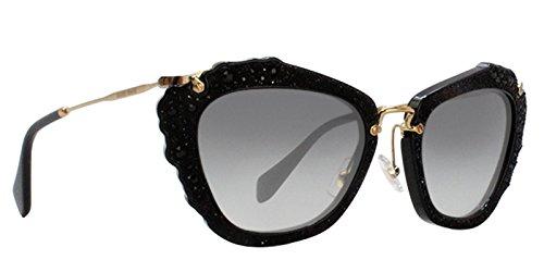 - Miu Miu MU04QS 1AB0A7 Black Noir Cats Eyes Sunglasses Lens Category 2 Size 55mm
