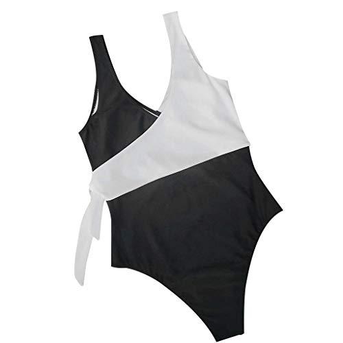 Women's Sexy One Piece Bikini Floral Swimsuit Patchwork Swimwear Beachwear Set Black