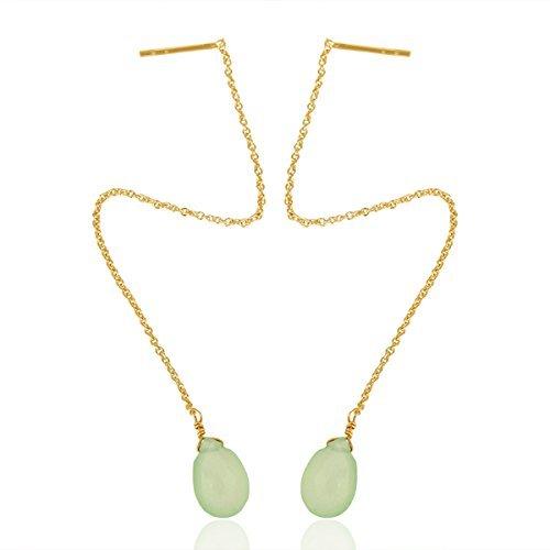 - Green Chalcedony Minimalist Threader Sterling Silver Chain Earrings