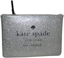 buy online 633a5 0f0f4 Kate Spade Gia Holiday Drive Silver Sparkle Pouch Clutch Cosmetic ...