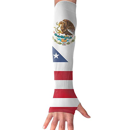 RUNNING BEAN American and Mexican Flags Anti-UV Sleeves Gloves Sun Protection Sports Protective Armor Sleeves by RUNNING BEAN