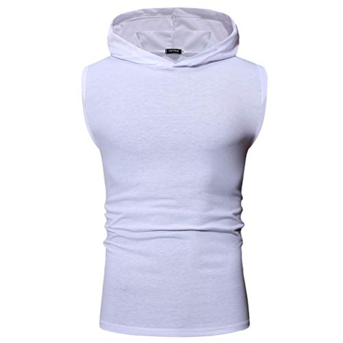 (POQOQ Men Tank Tops Sleeveless Round Neck Vest T-Shirt for Gym Sport and Casual Men's Sleeveless Tank Top Casual Sport Gym Vest Shirt XL White)