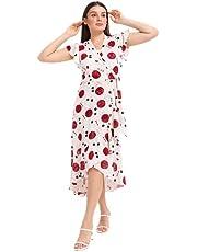 فستان -كراوزيه -حريمي لون ابيض واحمر نبيذي