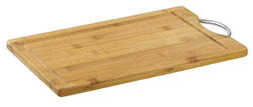 (Home Basics CB44252 Bamboo Cutting Board with Handle, Medium, Natural)