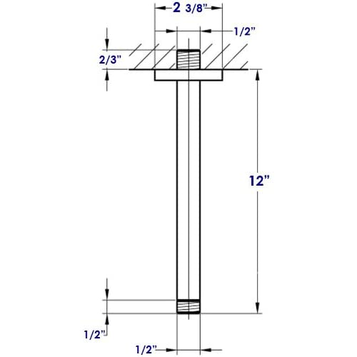 ALFI brand AB12SC 12 Inch Square Ceiling Mounted Shower Arm for Rain Shower  Heads ALFI brand AB12SC 12 Inch Square Ceiling Mounted Shower Arm for  . 12 Inch Rain Shower Head Brushed Nickel. Home Design Ideas