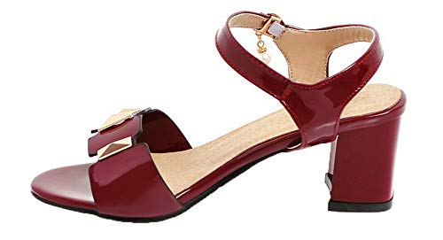 Unie AgooLar Correct Couleur GMBLB014953 Rouge à d'orteil Ouverture Femme Sandales Talon xTaqTrwXcB