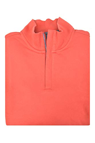 Brooks Brothers Men's 100% Cotton Half Zip Mockneck Collar Sweater Light Red (X-Large)